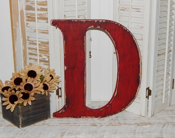 Large Wooden Letter D Or Any Letter Distressed 18 Inch Wood Letters Choose Letter & Color
