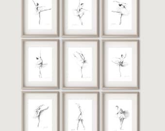 Set of 9 Prints, Ballerina Prints, 9 Ballerina Prints, Ballerina Pictures, Ballerina Sketches, Girl Room Decor, Gift for Her, Set of 9 Dance