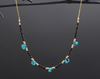 Black Spinel & Turquoise Necklace 14K Gold Filled/Turquoise Lovers Gift/Gift For Wife/Gift For Girlfriend