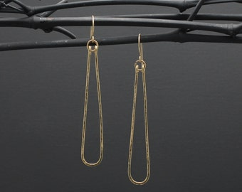 """2.75"""" Long Narrow Gold Hammered Hoop Earrings + 14K Gold Filled + Light Weight + The Gem Gypsy"""