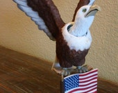 Vintage Felted American Bald Eagle Bobble Head Flag Red White And Blue