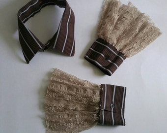 Upcycled Steampunk Clothing - Shirt Collar and Cuffs, Brown Striped with Beige Lace Trim - Med Hatter - Alice in Wonderland