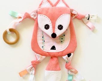 Coral baby blanket fox teething toy clip lovie keepsake friend
