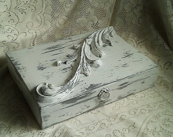 Large Handpainted Storage Box w/Architectural Embellishment, Gwen Frostic Paper Interior