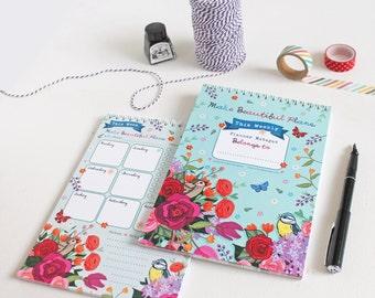 Weekly Planner - Journal - Make Beautiful Plans - Weekly Journal - To Do List - Weekly To Do List - Desk Planner - Notepad
