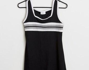 90s Black and White Sporty Tank Dress