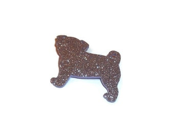 Pug Brooch Laser Cut Glitter Lilac Lavender Pastel Purple Pug Pin, Cute Dog, Kawaii Quirky Kitsch