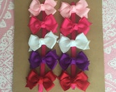 10 Small Classic Pigtail Bows--You CHOOSE colors--You SAVE 2 dollars off regular price--getting 1 bow FREE