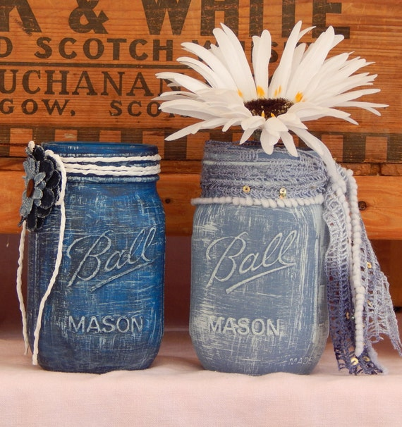 Blue denim painted mason jar wedding centerpiece rustic for Denim centerpieces