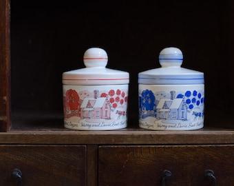 Vintage Porcelain Lidded Jars With Orchard Scenery Marked Japan - Set of 2