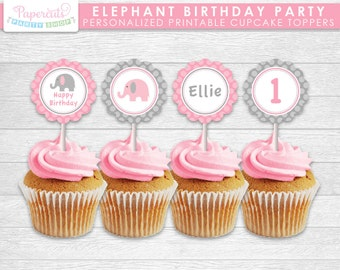 Elephant Theme Birthday Party Cupcake Toppers | Pink & Grey | Personalized | Printable DIY Digital File