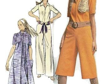 Retro Disco Style 70s Jumpsuit Pantsuit One Piece Wide Leg Simplicity Sewing Pattern Vintage Fashion Coat Vest Groovy Boho Hippie Bust 34