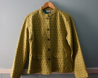 Women's Vintage Spring Jacket / Chico's Quilted jacket with mandarin collar / chartreuse green and turquoise jacket / Size small to medium