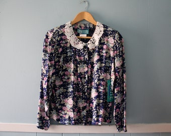 Vintage Floral Print Blouse with Doily Collar / New Old Stock Pink & Blue Rayon Blouse / Size 8 small to medium
