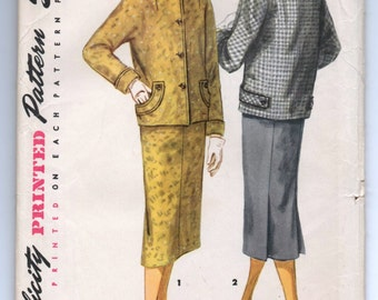 """1950's Simplicity Two-Piece Suit with Kimono Sleeves and Slim Skirt Pattern - UC/FF - Bust 30"""" - No. 1311"""