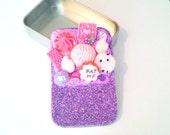 Kitsch Purple Sparkle Alice in Wonderland sweetie deco-den storage tin, tobacco cigarette smoking stash tin make up tin faux food candy tin