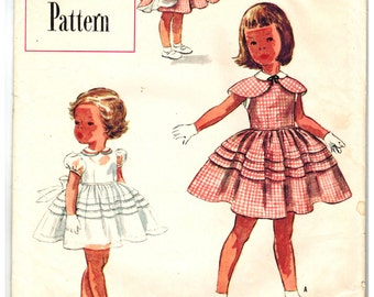 Simplicity 8368 UNCUT and FF Vintage 50s Girls One Piece Dress with Detachable Cape - Puffed or Sleeveless - Panties Sewing Pattern Size 4