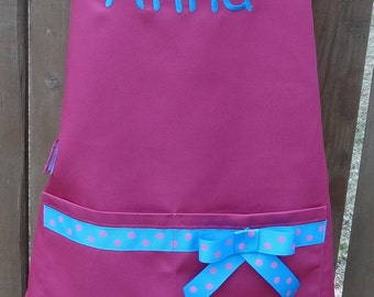 Personalized Embroidered Apron for little girl's aged 3 - 7. Many color choices