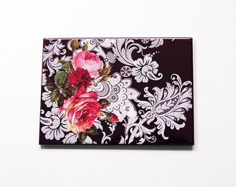 Large Pocket mirror, Lace mirror, glass mirror, mirror, rectangle mirror, Mothers Day Gift, Pink Roses, Lace, Black, White, Pink (5449)
