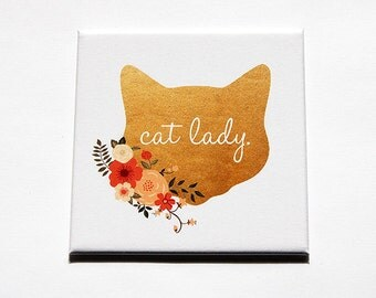 Cat Lady Magnet, Cat Magnet, Kitchen Magnet, Fridge magnet, Magnet, Gift for cat lover, Cat Fridge Magnet, Cat Lady, Large Magnet (5521)