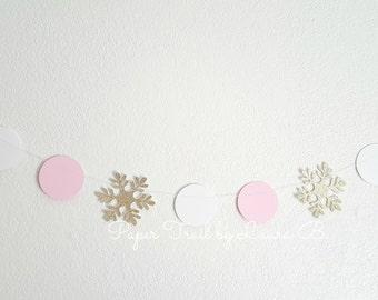 Winter Wonderland Gold and Pink  Snowflake Garland.  Birthday Decorations.  Winter ONEderland.  SnowflakeGarland. 6.5FT