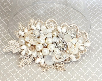 Champagne Hair Accessory- Bridal Hair Comb-Champagne Bridal Comb-Ivory Wedding Hair Comb-Champagne Bridal Clip-Bridal Hairpiece-Brass Boheme