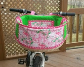 READY TO SHIP - Extra Large Handwoven Hand Quilted Beach Bicycle Basket Featuring Lilly Pulitzer Flamingo Fabric
