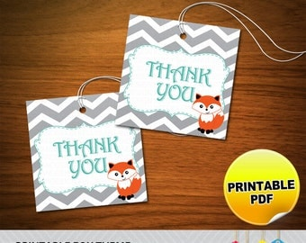 Fox Theme Thank You Tags - Printable PDF