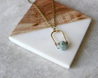 Kiwi Jasper + Brass Crescent Necklace, Pendant Necklace, Gemstone Necklace, Modern Necklace
