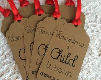 Christmas Tag, For Unto Us A Child Is Born Christmas Gift Tag, Isaiah 9:6 Gift Tag - Set of 8