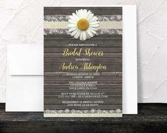 Daisy Bridal Shower Invitations - Burlap and Lace - Yellow White and Beige with Rustic Brown Wood - Printed Invitations
