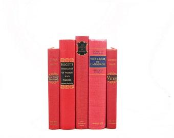 CRANBERRY RED  Decorative Books, Old book set, Wedding Decor, Centerpiece, Book Decor Bundle Antique Books, Instant Library, Interior Design