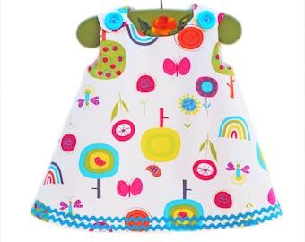 Infant Dress  - Sunrise Fly Away - Peasant Dress - Baby Girl - Girl Dress - Girls Clothing - Handmade - KK Children Designs - 3M to 4T
