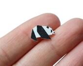Miniature Origami Panda Bear Plastic Stud Earrings 1cm