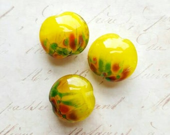 Vintaj Designer Series {Sunflower Fields Handmade Lampwork Glass Lentil Beads 20mm} 3 Pcs - Artisan Made by Farm Girl Studio