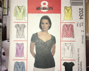 McCall's #2034  Pattern - Uncut Misses 8 Great Looks Knit Fabric Tops - Sleeveless, Short & Long Sleeve - YMA47R