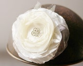 Bridal Flower Hair Clip - Rhinestone Ivory Floral Wedding Hair Accessory Boho Chic