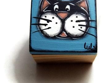 Cat blue jewelry box - Blue treasuries box -  sea shell box
