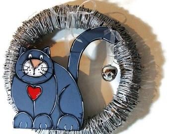 Gray door wreath with cat - Welcome wreath with cat - Silver door wreath with cat