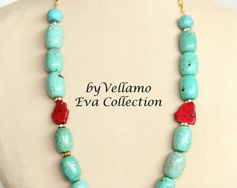 Natural turquoise chunky necklace, light blue, red, very long statement necklace, large turquoise stones, red howlite slabs, stone design