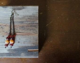 Spiced Chai Earrings long vintage red orange by Nancelpancel on Etsy