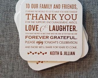 Foil Letterpress Wedding Thank You Coasters (Qty. 50)