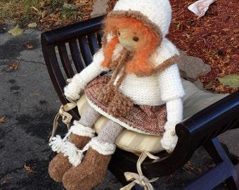 "Pattern for  ""Winter Heidi"" Raggedy Lottie ragdoll doll knitted doll Bunny rabbit"