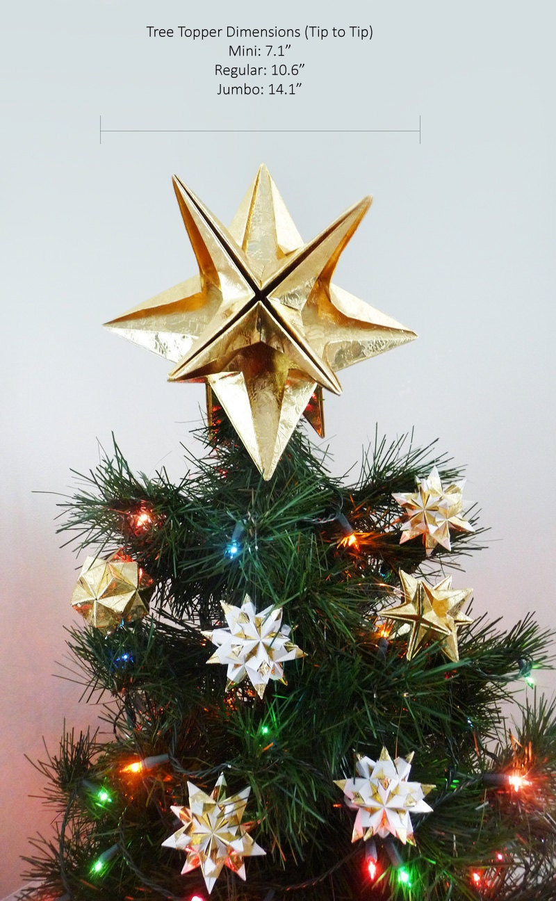 Papyrus origami christmas tree topper gold star classic for Modern gold christmas tree