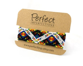 Epic Rainbow Wide Friendship Bracelets // PerfectImp Best Friend Gift / Handwoven Micro Macrame Pixel Bracelet / Personalized Handmade Gifts
