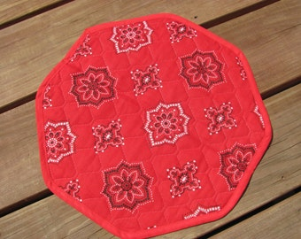 Vintage Quilted Country Place Mat, Single Place Mat, Two Sided Place Mat