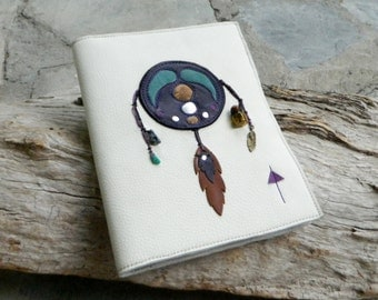 Refillable A5 Leather Journal Cover Dream Diary with Feather and Miniature Bottle Charm and Snowflake Obsidian and Amazonite Beads