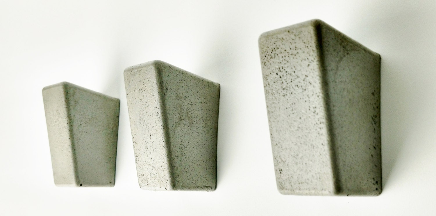 concrete wall hooks modern wall hooks by fmcdesign on etsy