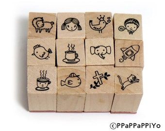Cute Rubber 08 Stamp Set
