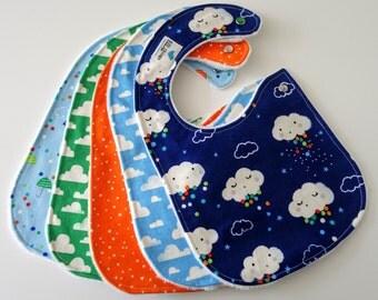Side Snap Baby Bibs for Boy, Set of 5 - Clouds, Rain, Stars, Moons, Sky, Umbrellas, Minky Back